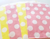12 Baby Pink & Yellow Combo Polka Dot Spot Paper Favor Candy Bags - Parties, weddings