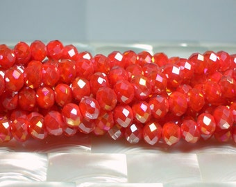 36 pcs 8mm Strand Opaque Ruby Orange Chinese glass Crystal Bead Rondelles with AB finish Jewelry Jewellery Craft Supplies