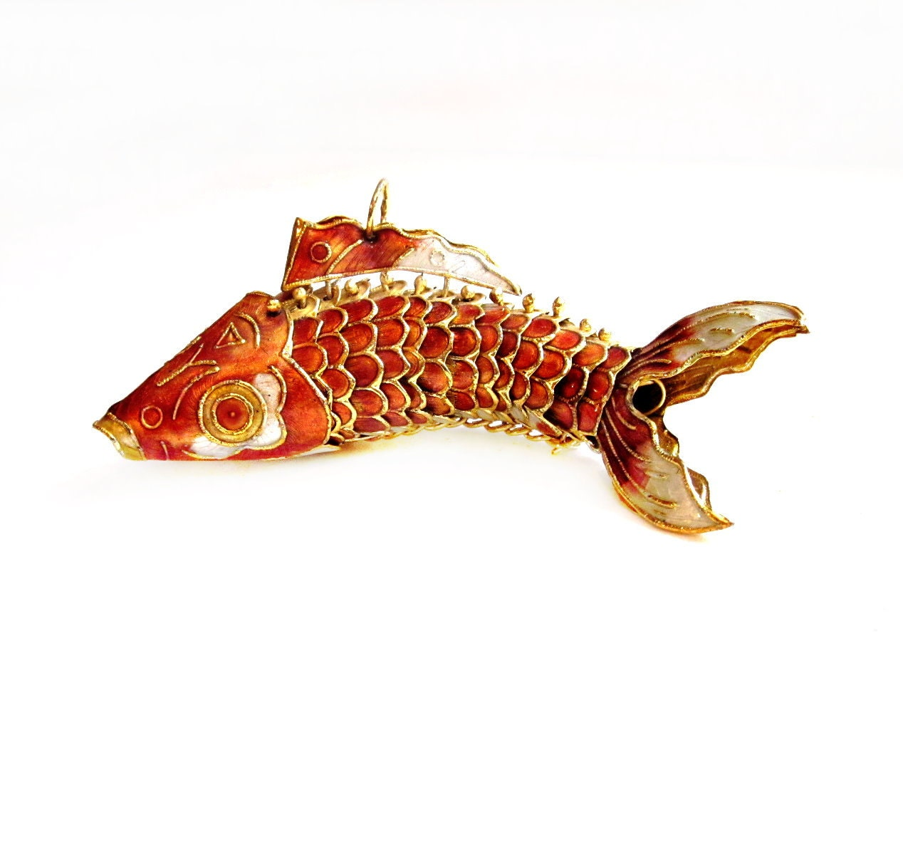articulated metal enamel koi fish ornament figurine