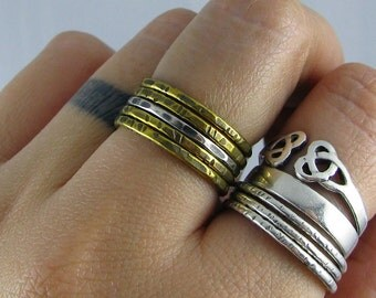 Mixed Metal Stacking Rings - Set of 4 Brass and 1 Sterling