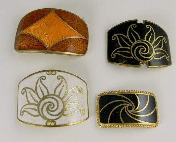 Vintage French Art Deco Basse Taille Enamel Buckle Finding  Destash Lot Warehouse Find