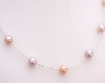 Pearl Station Necklace, Pearl Strand Necklace, June Birthstone, Wedding Jewelry, 3rd Anniversary, 30th Anniversary, Multi-colored Pearls