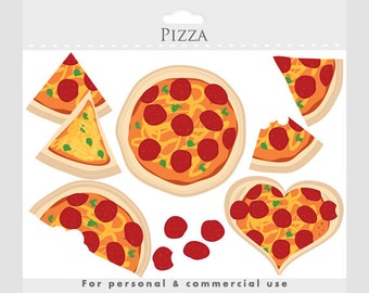 Pizza clipart - pizza love clip art, slices, heart, cheese, pepperoni, herbs, Italian food, food clipart, for personal and commercial use