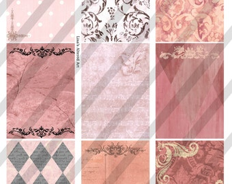 Digital Collage Sheet Backgrounds French Pink (Sheet no. FS54) Instant Download