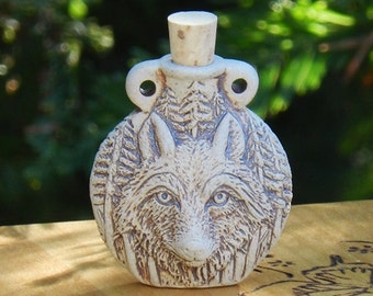 Old World Magick . WOLF Natural Raku Potion Bottle for Spell Oils, Incense, Diffuser, Ashes, Pendant