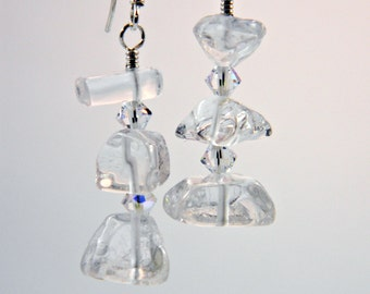 Rock Crystal Quartz Nuggets Dangle Earrings- Sterling Silver - Handmade - Clubbing - Trendy - Birthday - Mineral