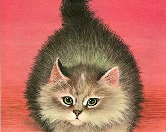 Vintage 1960's Child's PIcture Book Animal Bookplate Illustration, Print for Framing, Cat w Swishing Tail
