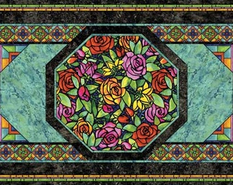 Stained Glass Rose Fabriquilt Fabric Panel