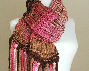 Pink Brown Chunky Scarf, Knit Scarf, Fringe Scarf, Knitted Scarf, Women's Scarf, Vegan Winter Scarf, Original Design in Drop Stitch