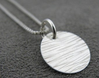Sterling Grooved Disk Pendant- Bumpy Road
