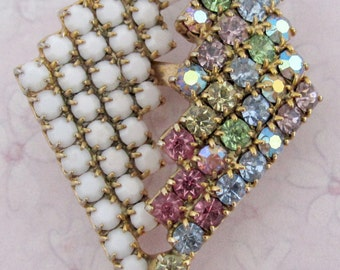 vintage prong set cut crystal multi color jewel tone and white milk rhinestone abstract leaf kite brooch pin - j4986