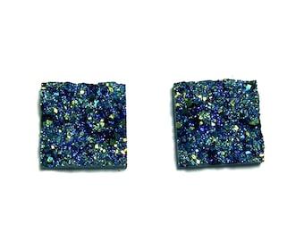 Square shaped Faux Druzy Metallic Blue color Cabochons 2pcs