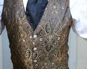 Belle Epoch Black and Gold Filagree Gentlemen's Steampunk Vest
