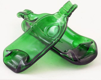 Tanqueray bottle - EMERALD green melted bottles -  spoonrest or dish - St. Paddys - Christmas - Holiday - 2 sizes of bottles