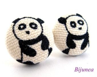 Animal Panda earrings - Panda stud earrings - Animal Panda studs - Panda post earrings - Animal earrings - Panda posts sf979