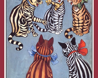 Striped Cats Refrigerator Magnet -  FREE US SHIPPING