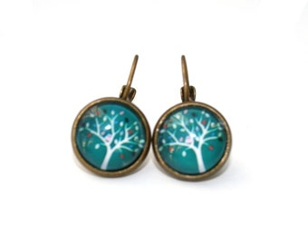 Teal Tree Earrings, Tree Illustration, Dangle Earrings