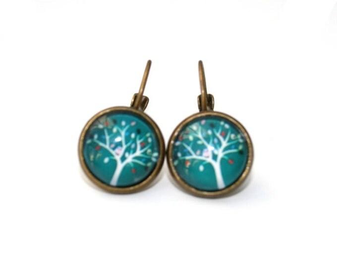 Teal Tree Earrings, Tree Illustration, Dangle Earrings