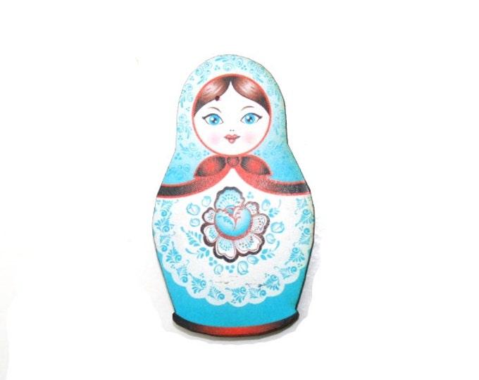Russian Doll Brooch, Blue Illustration, Wood Jewelry, Matryoshka Brooch