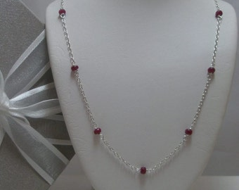 Genuine Ruby Necklace tin cup style
