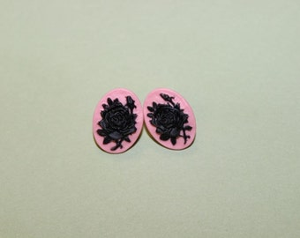 Small Pink and Black Rose Cameo Earrings