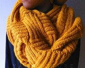 The Basketweave Textured Infinity Cowl - In MUSTARD / Unisex / Fall, Winter, Spring, Summer Fashion