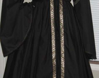 DDNJ Black Gold Embroidered Renaissance Maiden Overdress Detachable Trumpet Sleeves Plus Custom Made ANY Size Costume Larp Anime Pirate
