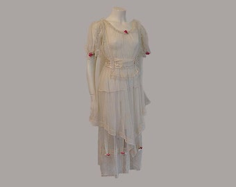 20s dress / Boardwalk Empire Vintage 1920's Net Garden Party Wedding Dress