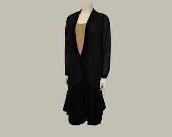 20s dress /Vintage 1920's Pintuck Rhinestone Drop Waist Flapper Dress