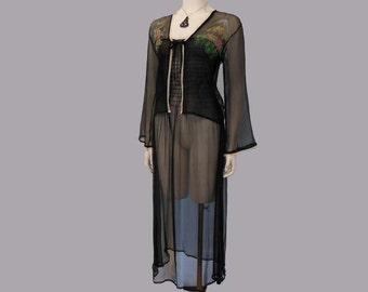 1940's Nightgown / Handpainted Vintage 40's Sheer Crepe Nighty Bed Jacket Set