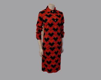 60s dress / Vintage 1960's Mod Roberta di Camerino Italian Chevron Dress