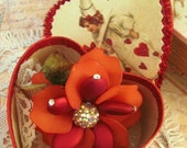 Valentine Flower Brooch In Heart Shape Box With Old Postcard Image Acrylic Red Rose Accented With Beads