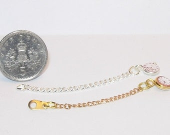1/12th scale dolls house miniature gold and silver pocket watches on chain