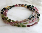 AAA Watermelon Tourmaline Gold Necklace
