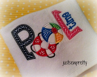 Pool Time Embroidery Applique Design