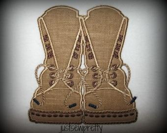 Combat Boots Embroidery Applique Design