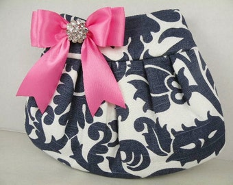 Pleated Clutch  Evening Bag  Purse  Wedding  Bridesmaid  AMSTERDAM  Navy and White with Hot Pink Satin Bow and Crystal
