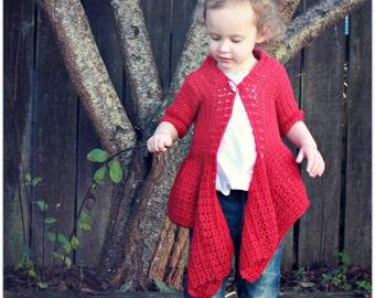 Download Now - CROCHET PATTERN - Drape Front Cardigan - Sizes Newborn to Ladies X L - Pattern PDF