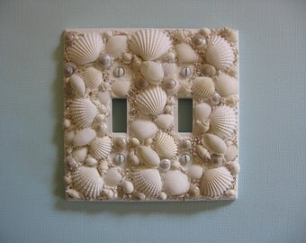 Seashell Light Switch Plate Cover - White Double Switchplate