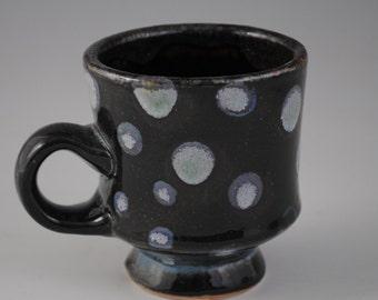 Black Ceramic Mug with Blue Spots
