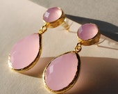 Pink Quartz Angelina Style Drop Earrings