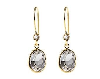 White Quartz Earring with a zirconium diamond touch