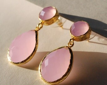 Pink Quartz Angelina Style Drop Earrings