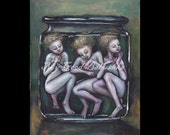 Brine Print, Folk Tale Art, Fairy Tale Art, Storybook Art, Specimens in a Jar, Wet Specimen, Medical Themed Art, Triplets, Macabre