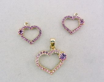 Set of Outline Pink Rhinestone Heart Charms and Pendant Gold-tone