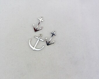 Set of Silver-tone Anchor Charms and Pendant