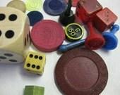 Bingo Dice House Chip Vintage Plastic Wood Game Pieces Parts Altered Art