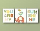 You Are My Sunshine - Orange blue green yellow - nursery decor nursery wall art Kids art elephant bird cloud words Set of 3 Prints