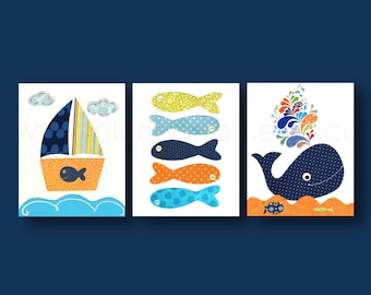 Bathroom art Nautical nursery art whale nursery wall art Boat fish orange navy ocean sea Kids room Decor - Set of three prints 8x10 or 11x14
