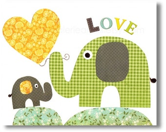 Nursery art prints - baby nursery decor - nursery wall art -kids art - heart - yellow - green - Elephant - I love you mommy print